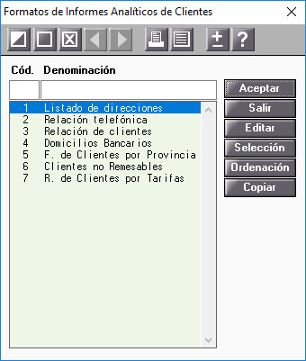 Formatos de informes Analiticos de Clientes