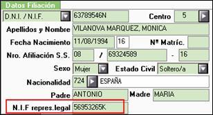 NIF representante legal