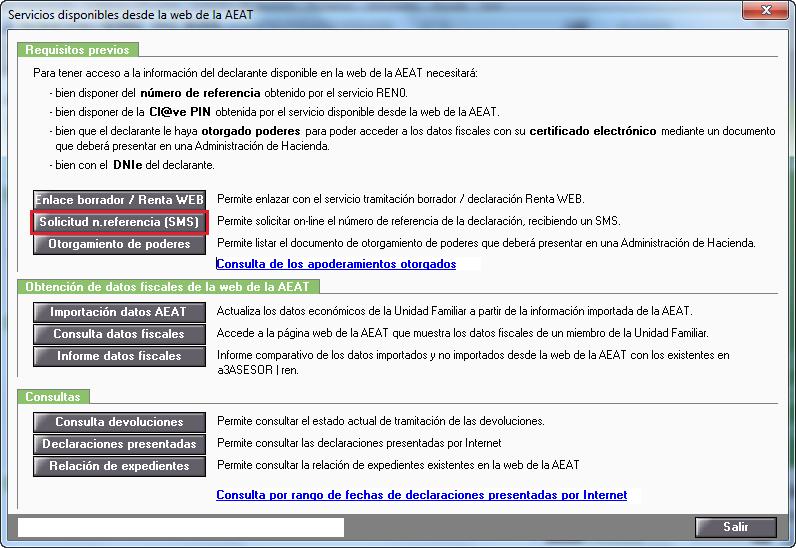 Servicios disponibles desde la web de la AEAT - Solicitud numero referencia SMS