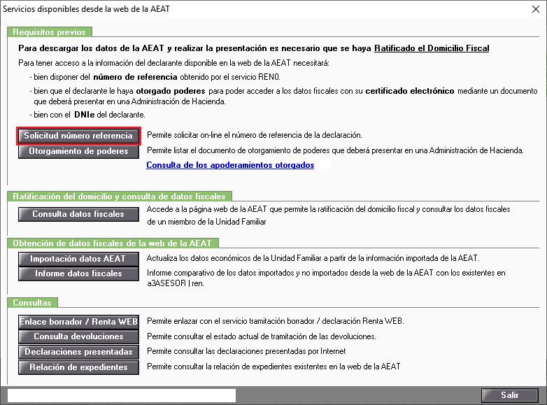 Servicios disponibles desde la web de la AEAT Solicitud numero referencia