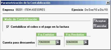 Parametrización de la contabilización