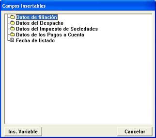 campos insertables disponibles