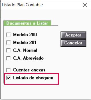 opciones de listado