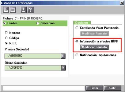 Listado certificado