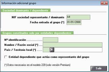 Información adicional grupo