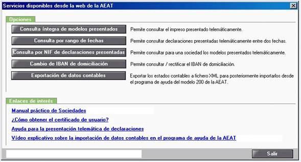 Servicios disponibles desde la web de la AEAT