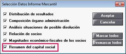 Selección datos informe mercantil