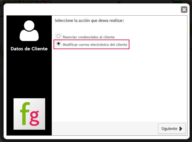 modificar mail cliente