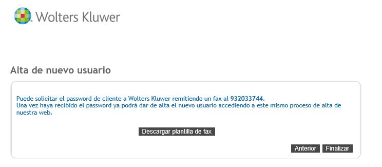 Alta de nuevo usuario Desgarga plantilla fax