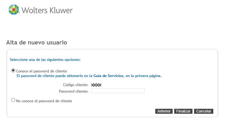 Alta de nuevo usuario Password cliente