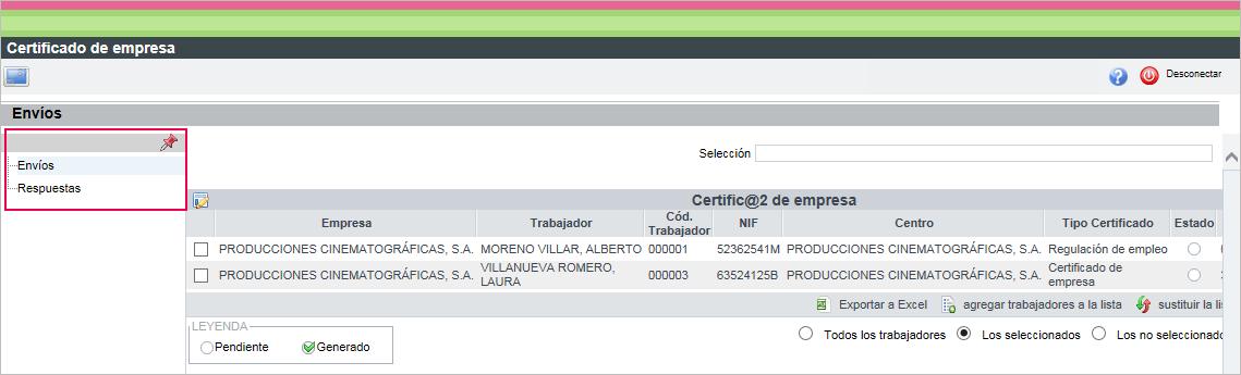 certificado empresa envios telematicos