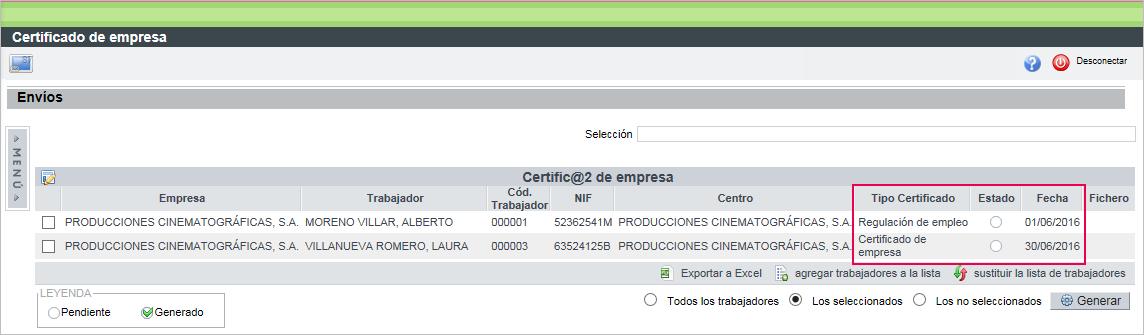 certificado empresa tipo estado fecha