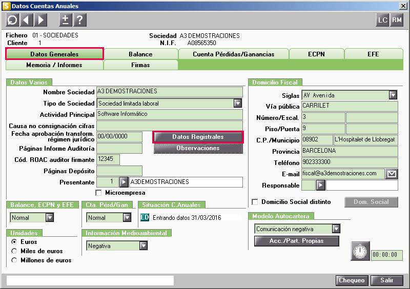 Datos Cuentas Anuales Datos Registrales