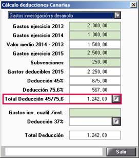 Cálculo deducciones Canarias