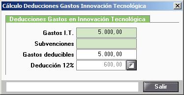 Calculo Deducciones Gastos Innovacion Tecnologica