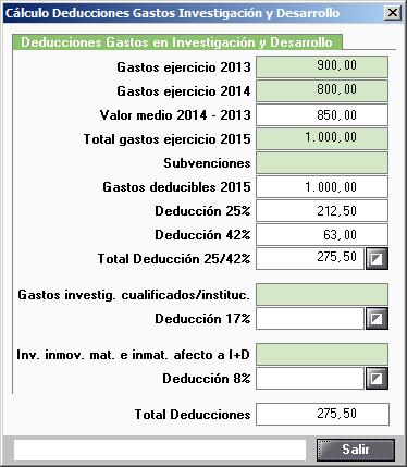 Calculo Deducciones Gastos I mas D