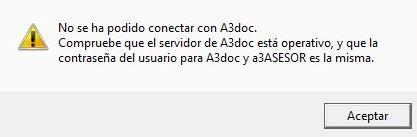 mensaje, no se ha podidoc conercta con a3doc