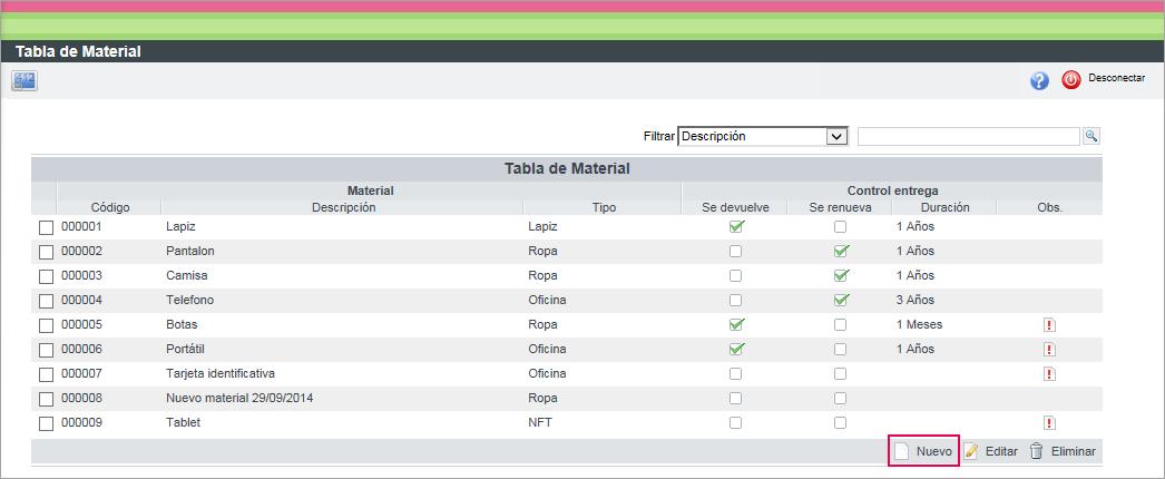 nuevo tabla material