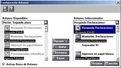 Configuración Botones