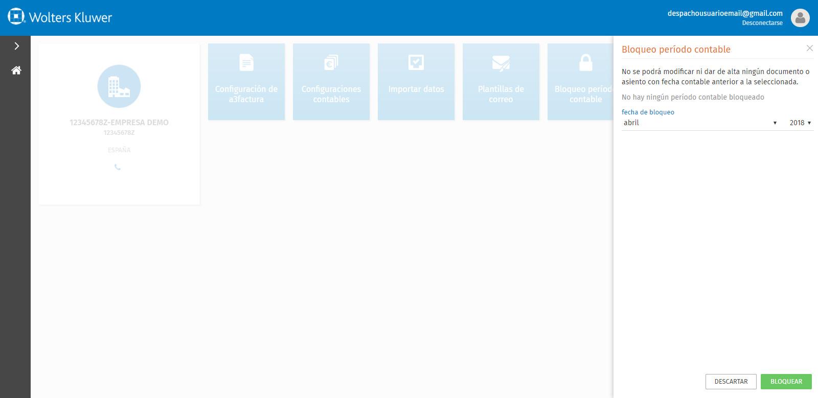 Portal a3factura Configuracion Bloqueo periodo contable fecha