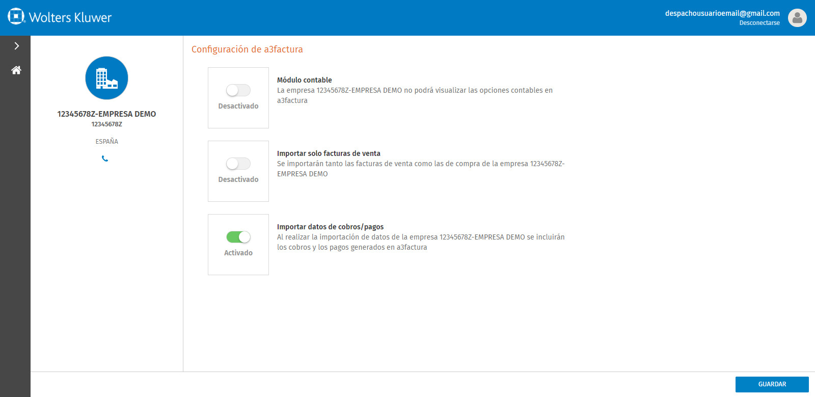 Portal a3factura Configuracion de a3factura opciones