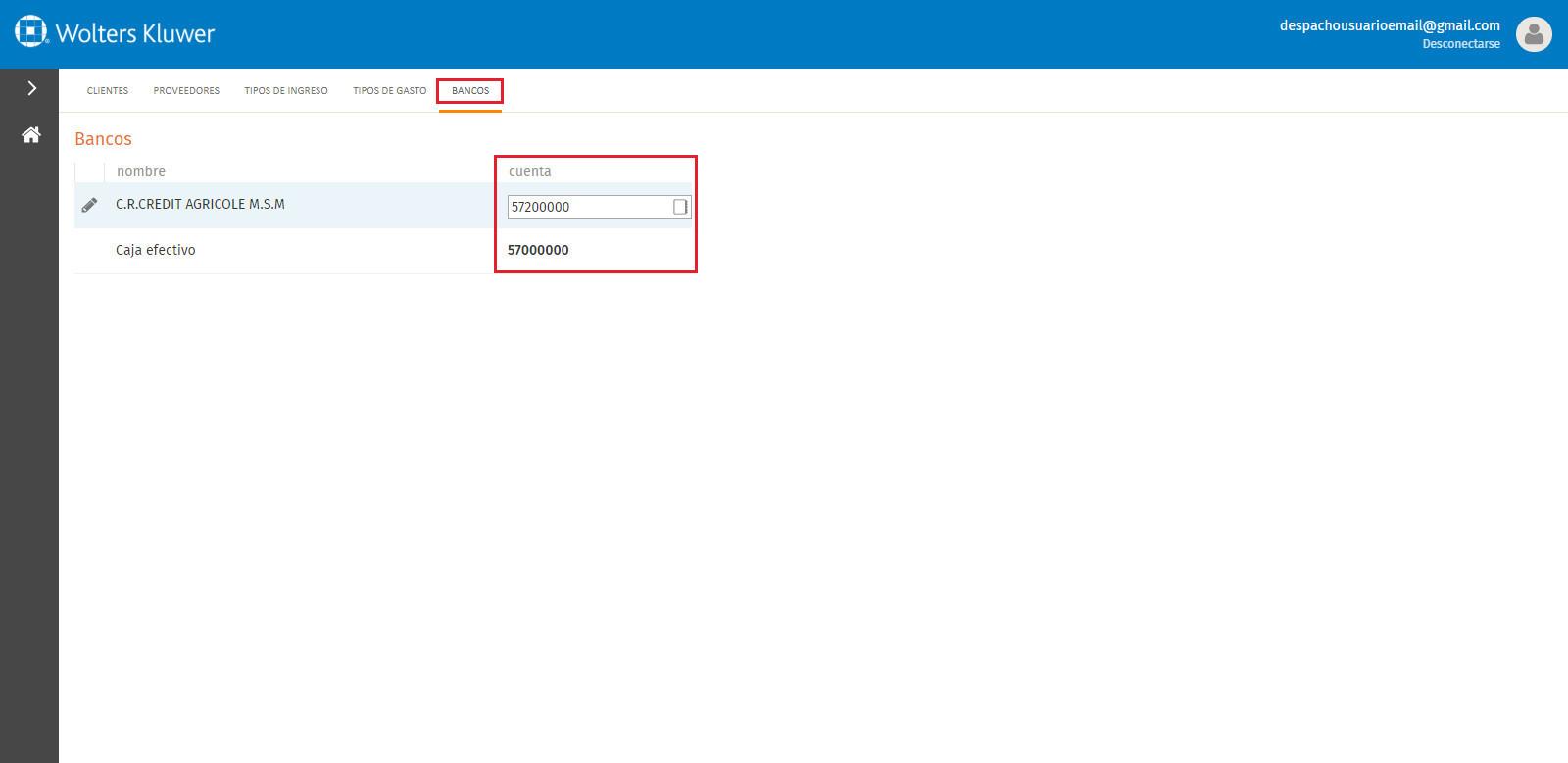 Portal a3factura Configuraciones contables Bancos
