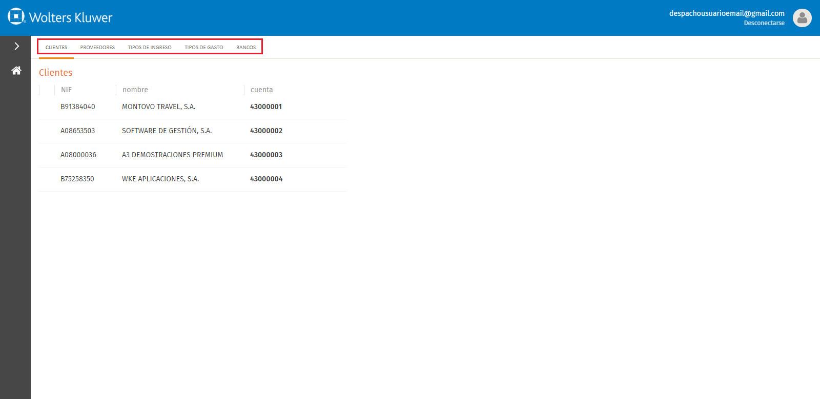 Portal a3factura Configuraciones contables opciones