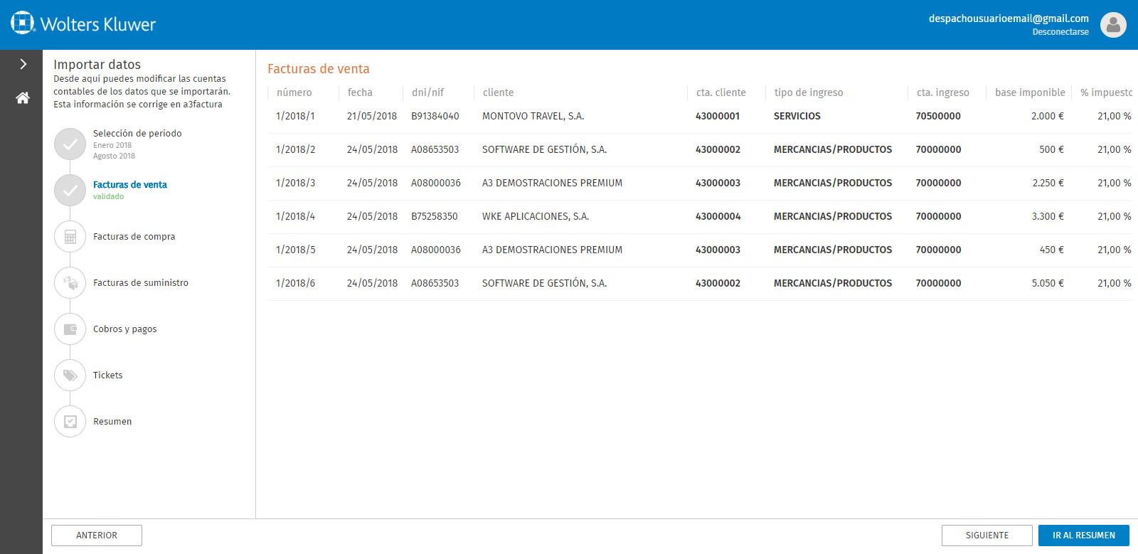 Portal a3factura Importar datos Facturas de venta