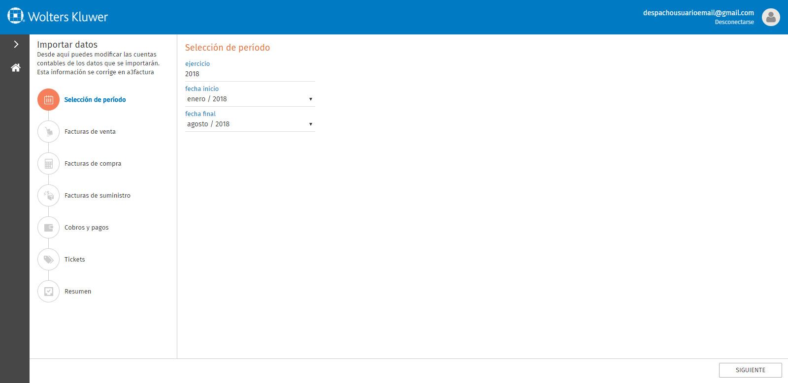Portal a3factura Importar datos Seleccionar periodo