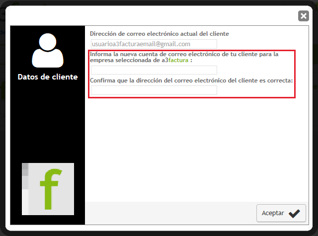 Cambiar email cliente