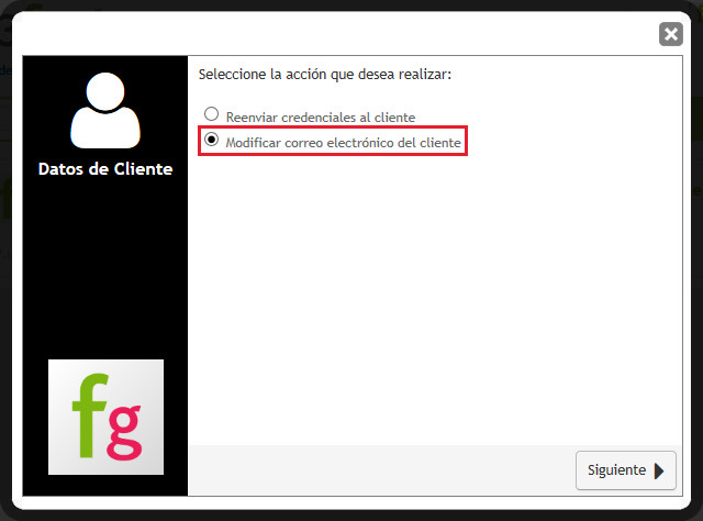 Cambio email cliente