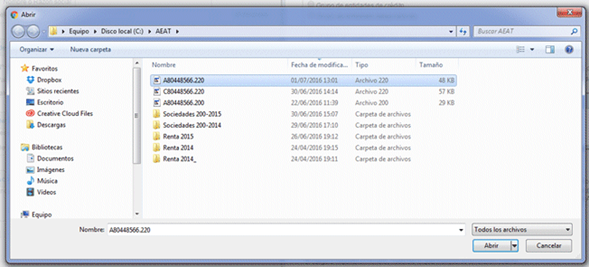 Selección de fichero