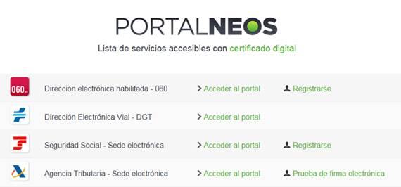 Listado servicios accesibles certificado digital