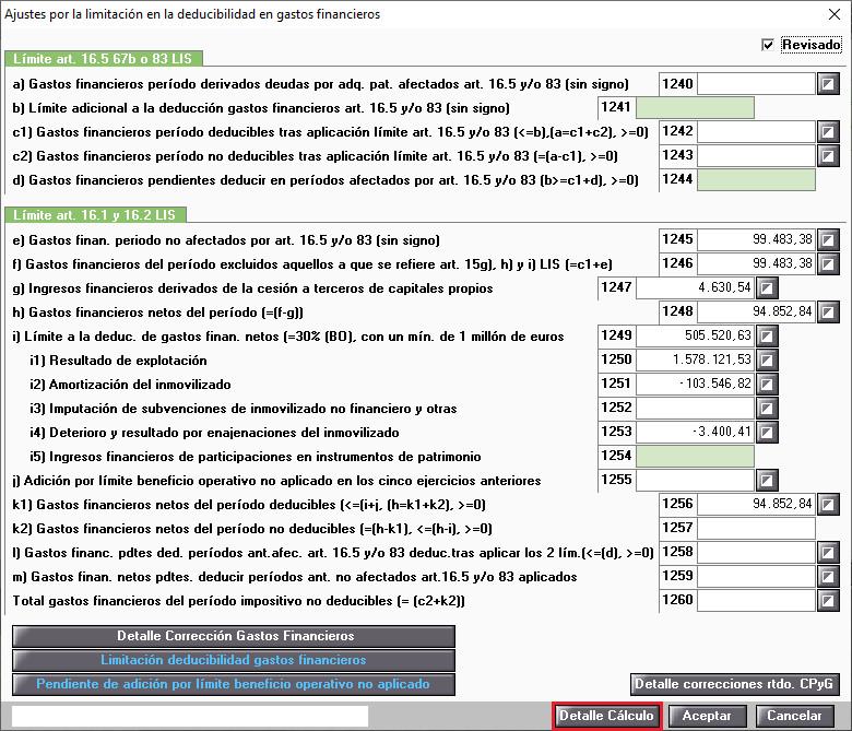 Ajustes por la limitacion en la deducibilidad en gastos financieros Detalle de calculo