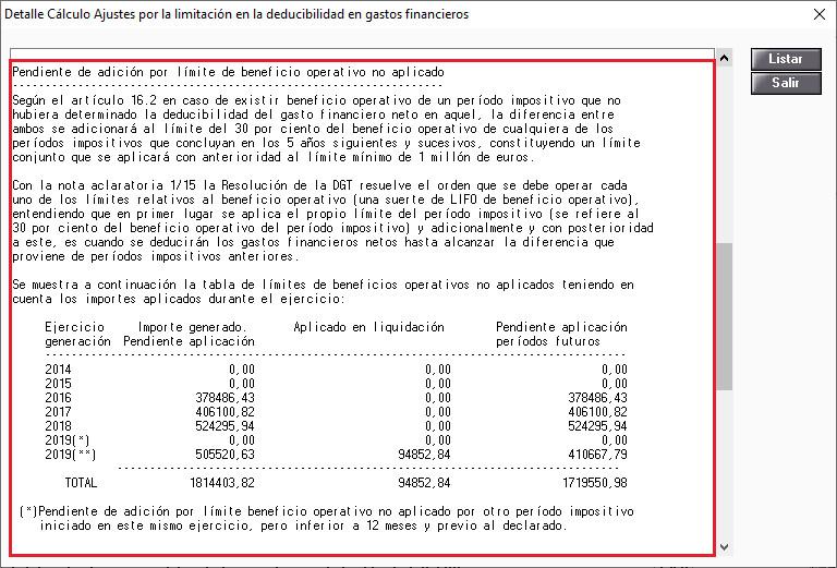Detalle de calculo Pendiente de adicion por limite de beneficio operativo no aplicado