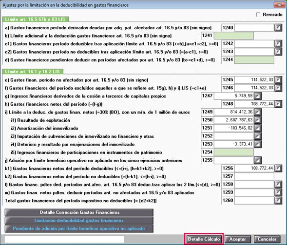 Ajustes de gastos financieros - detalle del cálculo