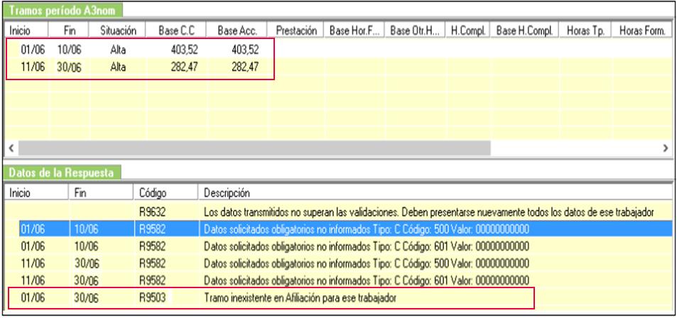 Errores R9503 R9582 tramos periodo a3nom