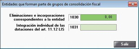 Entidades que forman parte de grupos de consolidación fiscal