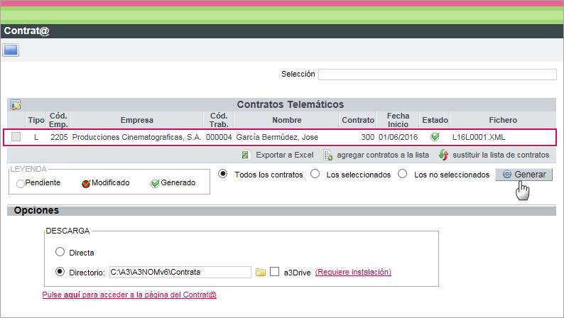 fichero XML llamamiento