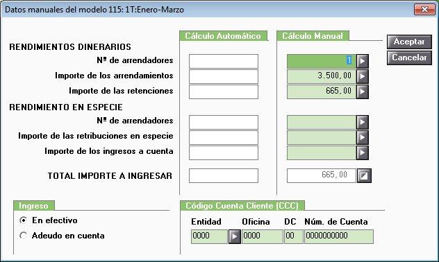 Datos manuales modelo 115