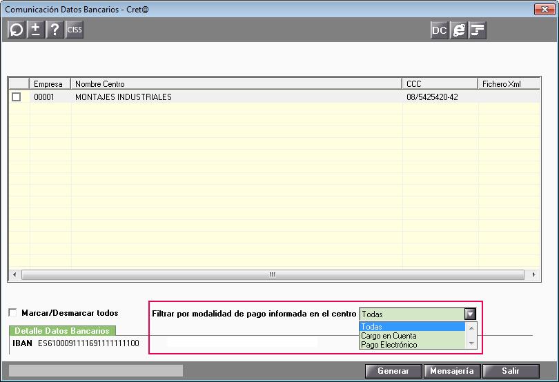 filtro en Comunicacion Datos Bancarios