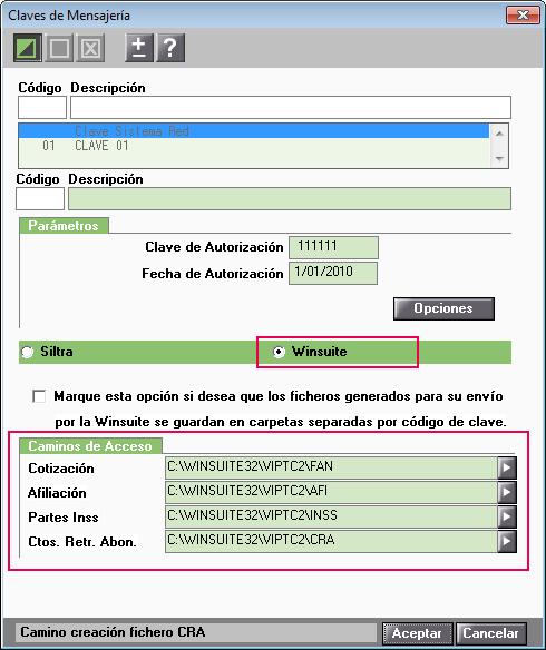 parametros mensajeria Winsuite
