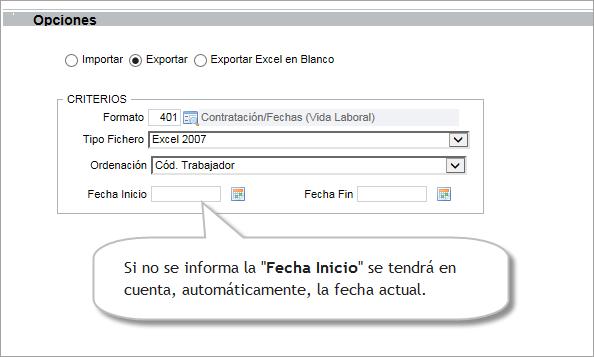 opciones exportar