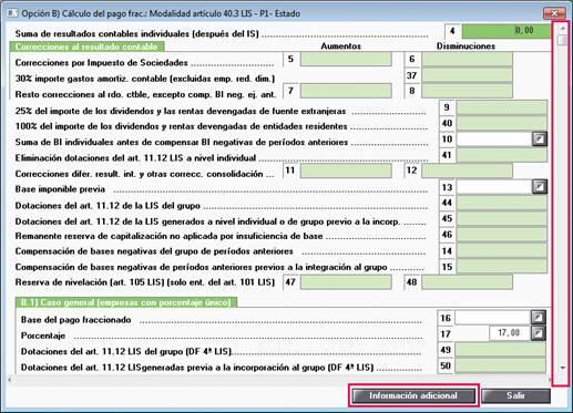 Modelo 222, informar datos