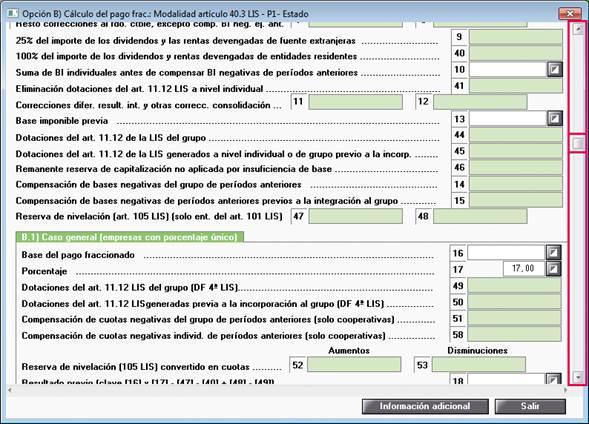 Modelo 222 cumplimentación datos