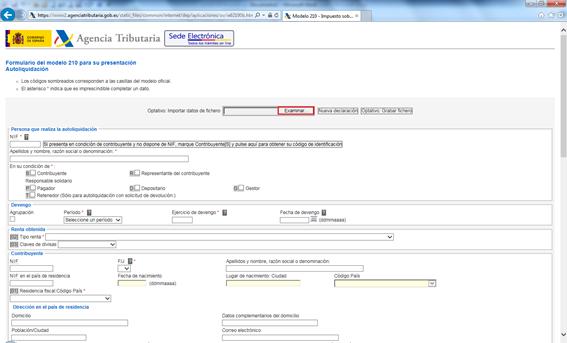 Modelo 210 Página Web de la AEAT