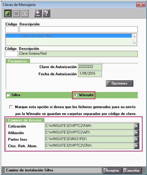 winsuite clave mensajeria