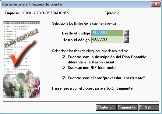 Chequeo del plan contable