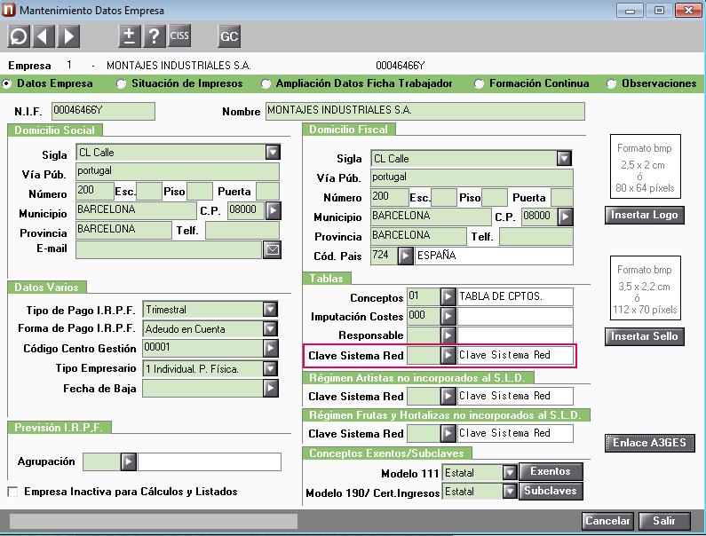 mantenimiento datos empresa