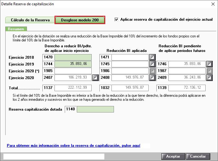 Detalle Reserva de Capitalizacion Modelo 200